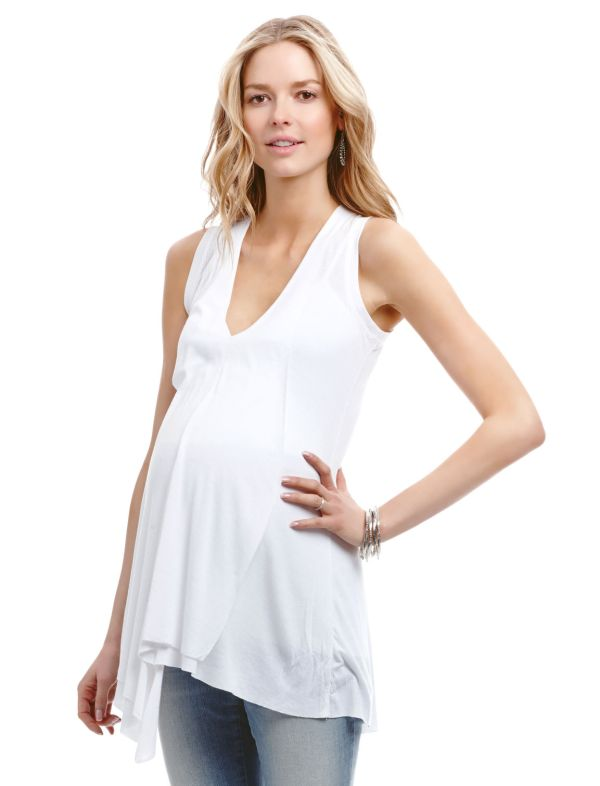 Jessica Simpson Sleeveless V-neck High-low Hem Maternity Tank Top