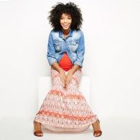 Maternity Maxi Skirt + Denim Jacket