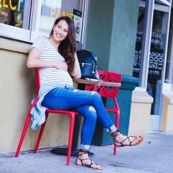 AG Jeans, Stripe Tee + Chambray Top