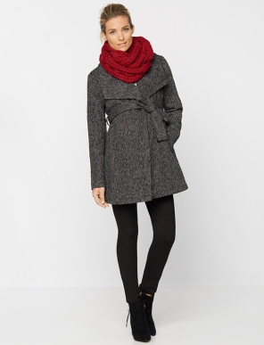 Textured Wrap Wool Maternity Coat