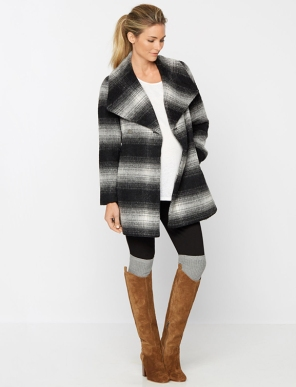 Plaid Wrap Wool Maternity Coat