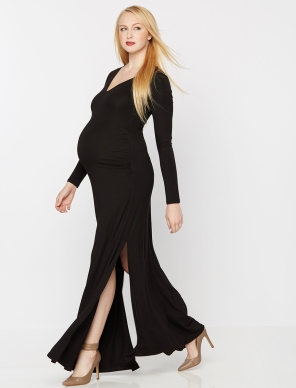 Rachel Zoe Side Slit Maternity Maxi Dress